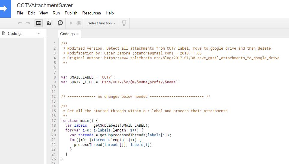 Save Gmail Attachments Into Google Drive and Delete: CCTV